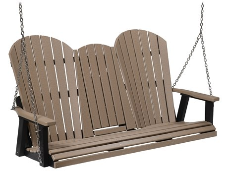 Berlin Gardens Comfo-back Recycled Plastic Three Seat Swing in Zinc Chains PatioLiving