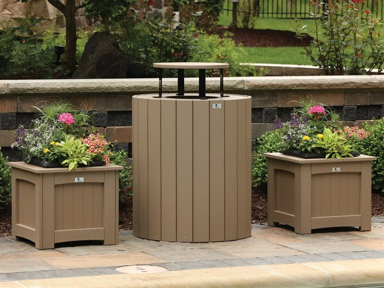 Berlin Gardens Accessories Recycled Plastic Planters and Trash Can Set PatioLiving