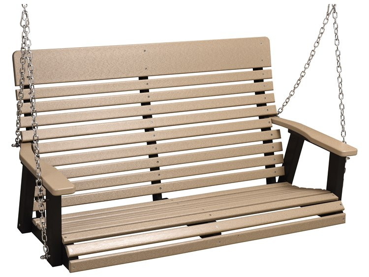 Berlin Gardens Casual Back Recycled Plastic Double Swing in Zinc Chains
