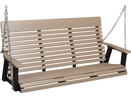 Berlin Gardens Casual Back Recycled Plastic Three Seat Swing in Zinc Chains