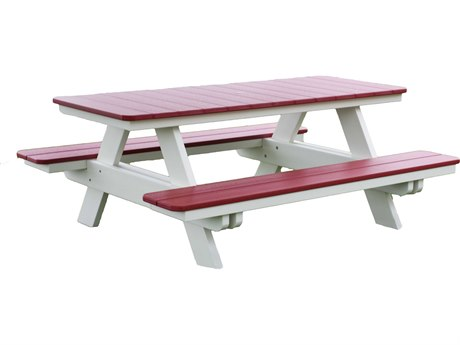 Berlin Gardens Recycled Plastic 72''W x 58''D Rectangular Picnic Table with Umbrella Hole