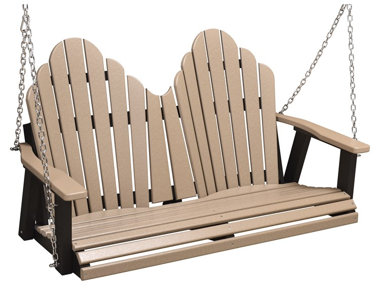 Berlin Gardens Cozi-Back Recycled Plastic Double Swing in Zinc Chains