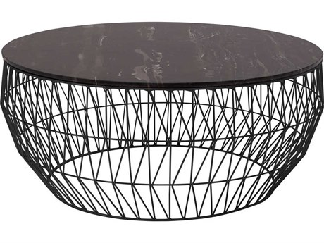 Bend Goods Outdoor Black Marble / Black 36'' Wide Round Coffee Table BOO36COFFEETABLEBLK36MARBLETOPBLK