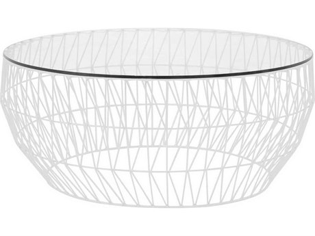 Bend Goods Outdoor White 36'' Wide Round Coffee Table BOO36COFFEETABLEWH36GLASS