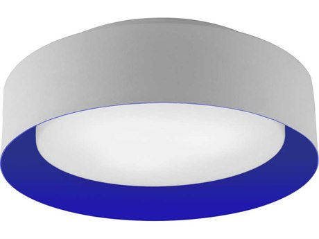 Bromi Design Lynch White with Blue Three-Lights 16'' Wide Flush Mount Light