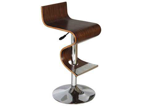 Bromi Design King Walnut & Chrome Bar Stool