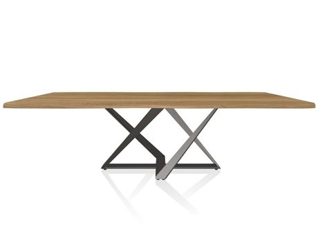 Bontempi Millennium Natural Oak / Silver 98'' Wide Rectangular Dining Table BON2039M326L109