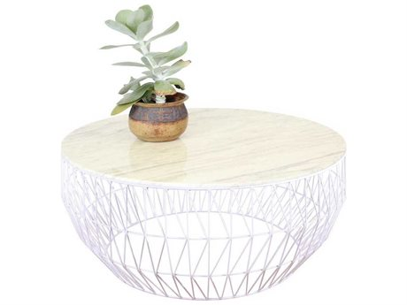 Bend Goods Outdoor White Marble / White 36'' Wide Round Coffee Table BOO36COFFEETABLEWH36MARBLETOPWH