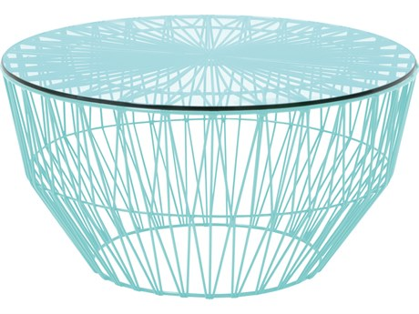 Bend Goods Outdoor Drum Aqua 24'' Wide Round Coffee Table PatioLiving