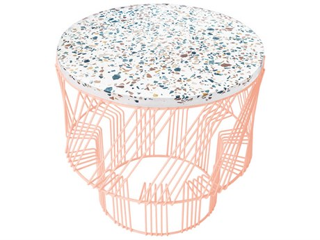 Bend Goods Outdoor Terrazzo Peachy Pink 19'' Wide Round End Table