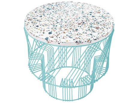 Bend Goods Outdoor Terrazzo Aqua 19'' Wide Round End Table PatioLiving