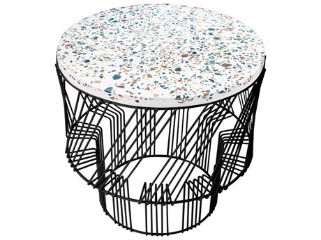 Bend Goods Outdoor Terrazzo Black 19'' Wide Round End Table PatioLiving