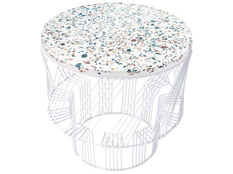 Bend Goods Outdoor Terrazzo White 19'' Wide Round End Table PatioLiving