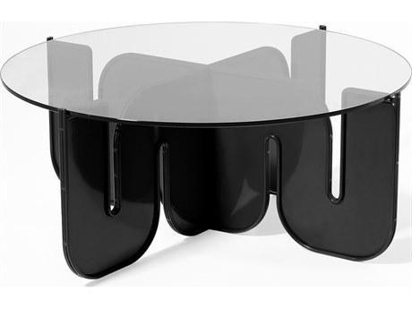 Bend Goods Outdoor Wave Black 36'' Wide Round Coffee Table PatioLiving