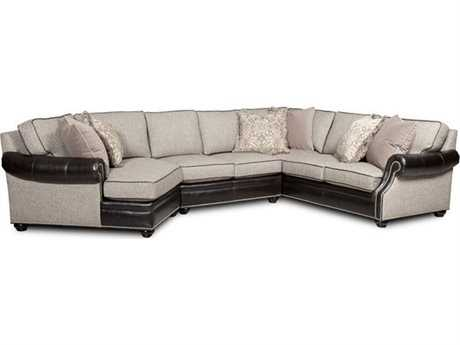 Bradington Young Warner Sectional Sofa with Left Arm Facing Cuddler 8-Way Tie