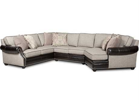 Bradington Young Warner Sectional Sofa with Reft Arm Facing Cuddler 8-Way Tie