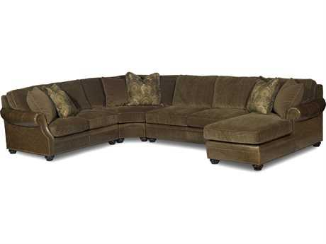 Bradington Young Warner Sectional Sofa with Right Arm Facing Chaise Lounge 8-Way Tie