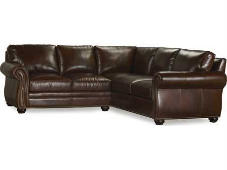 Bradington Young Sterling Sectional Sofa with Right Arm Facing Corner Return Sofa 8-Way Tie