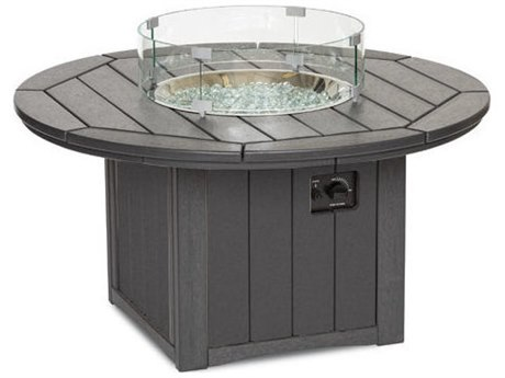 Breezesta Elementz Recycled Plastic 48''Wide Round Chat Height Fire Pit Table PatioLiving