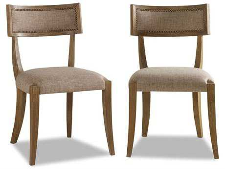 Brownstone Furniture Atherton Cerused Teak with Hazel Linen Dining Side Chair