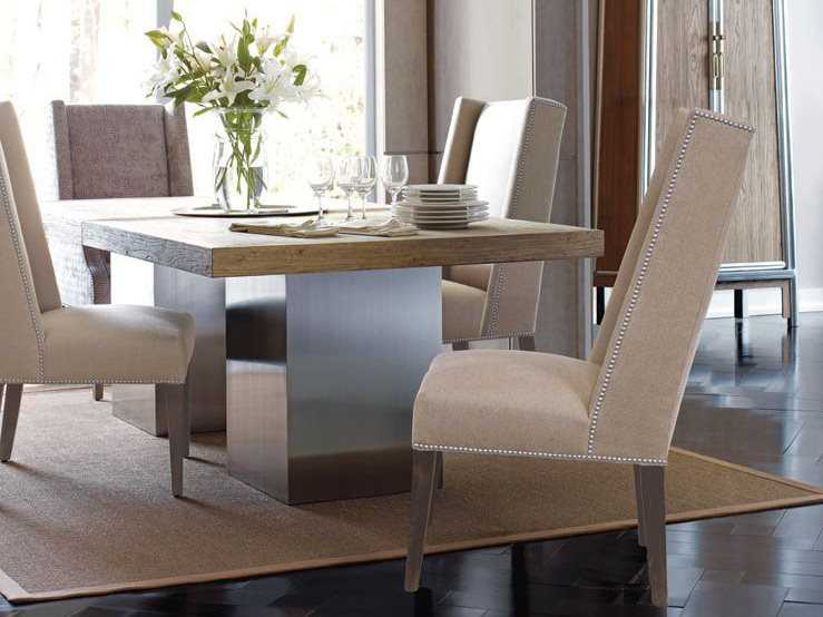 Brownstone Furniture Monterey 47\'\' Square Elm & Stainless Steel ...