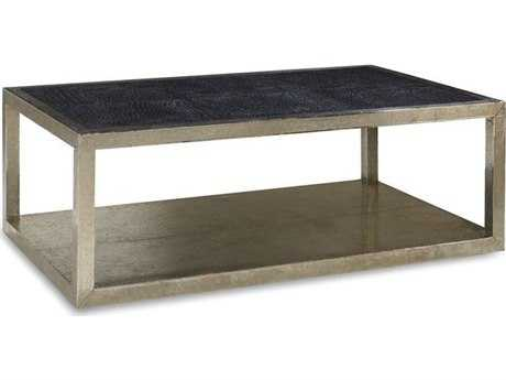 Brownstone Furniture Treviso 50''L x 30''W Square Black Crocodile Leather with German Silver Coffee Table