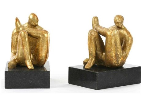 Bungalow 5 Gold Leaf / Black Marble Amadeo Sitting Statue Bookends