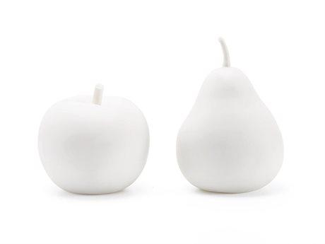 Bungalow 5 White Apple & Pear Porcelain Figures Sculpture