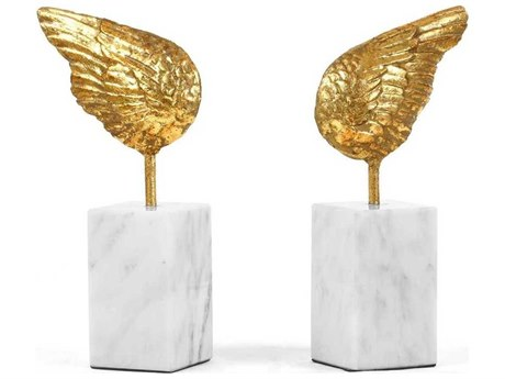 Bungalow 5 Gold Leaf / White Marble Wings Statue Bookends