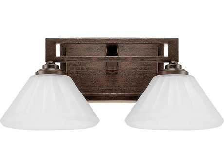 Capital Lighting Avalon Russet with Acid Wash Glass Two-Light Vanity Light