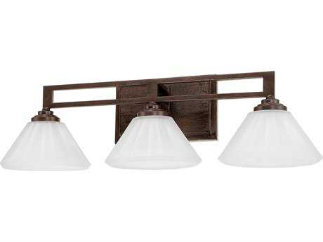 Capital Lighting Avalon Russet with Acid Wash Glass Three-Light Vanity Light