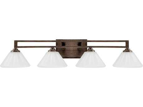Capital Lighting Avalon Russet with Acid Wash Glass Four-Light Vanity Light