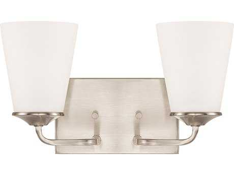 Capital Lighting HomePlace Lighting Braylon Brushed Nickel with Soft White Glass Two-Light Vanity Light