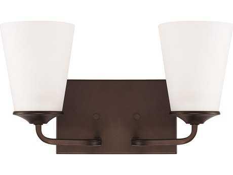 Capital Lighting HomePlace Lighting Braylon Bronze with Soft White Glass Two-Light Vanity Light