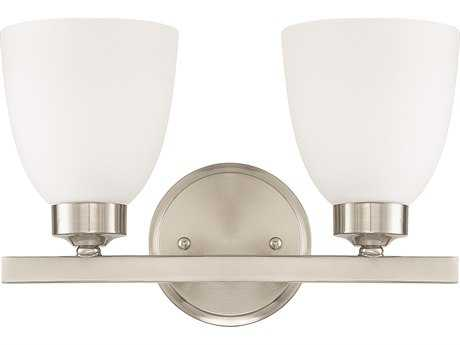 Capital Lighting HomePlace Lighting Jameson Brushed Nickel with Soft White Glass Two-Light Vanity Light