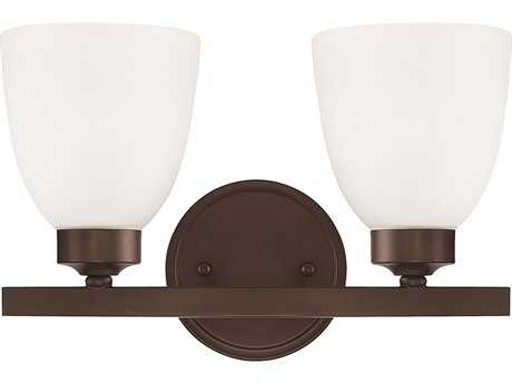 Capital Lighting HomePlace Lighting Jameson Bronze with Soft White Glass Two-Light Vanity Light