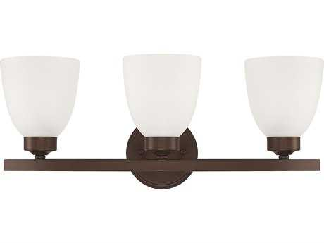 Capital Lighting HomePlace Lighting Jameson Bronze with Soft White Glass Three-Light Vanity Light
