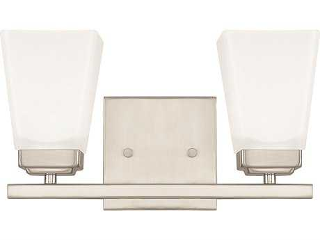 Capital Lighting HomePlace Lighting Baxley Brushed Nickel with Soft White Glass Two-Light Vanity Light