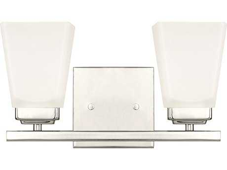 Capital Lighting HomePlace Lighting Baxley Polished Nickel with Soft White Glass Two-Light Vanity Light