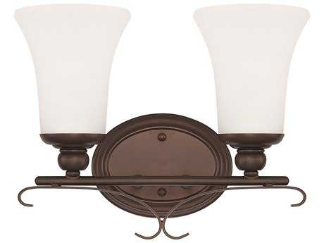 Capital Lighting HomePlace Lighting Griffin Bronze with Soft White Glass Two-Light Vanity Light