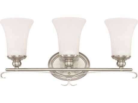 Capital Lighting HomePlace Lighting Griffin Brushed Nickel with Soft White Glass Three-Light Vanity Light