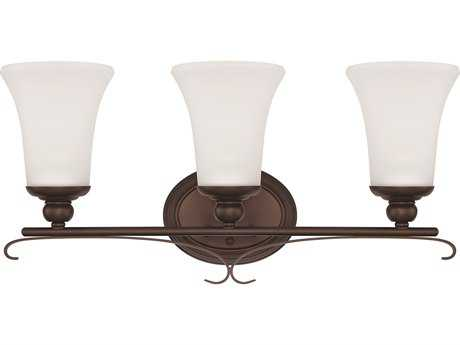 Capital Lighting HomePlace Lighting Griffin Bronze with Soft White Glass Three-Light Vanity Light