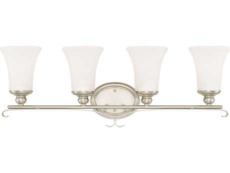 Capital Lighting HomePlace Lighting Griffin Brushed Nickel with Soft White Glass Four-Light Vanity Light