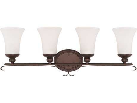 Capital Lighting HomePlace Lighting Griffin Bronze with Soft White Glass Four-Light Vanity Light