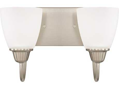 Capital Lighting HomePlace Lighting Trenton Brushed Nickel with Acid Washed Glass Two-Light Vanity Light