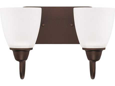 Capital Lighting HomePlace Lighting Trenton Bronze with Acid Washed Glass Two-Light Vanity Light