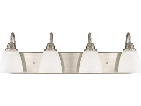 Capital Lighting HomePlace Lighting Trenton Brushed Nickel with Acid Washed Glass Four-Light Vanity Light