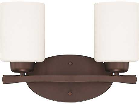 Capital Lighting HomePlace Lighting Dixon Bronze with Soft White Glass Two-Light Vanity Light