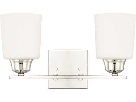 Capital Lighting HomePlace Lighting Hayden Polished Nickel with Soft White Glass Two-Light Vanity Light