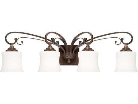 Capital Lighting Kingsley Dark Spice with Soft White Glass Four-Light Vanity Light